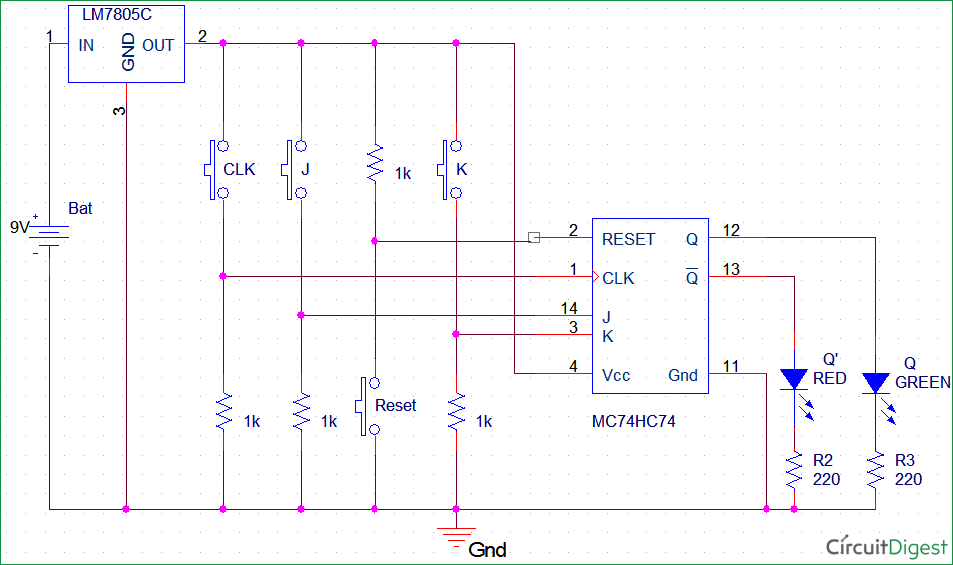 JK flip-flop circuit diagram with IC MC74HC73A