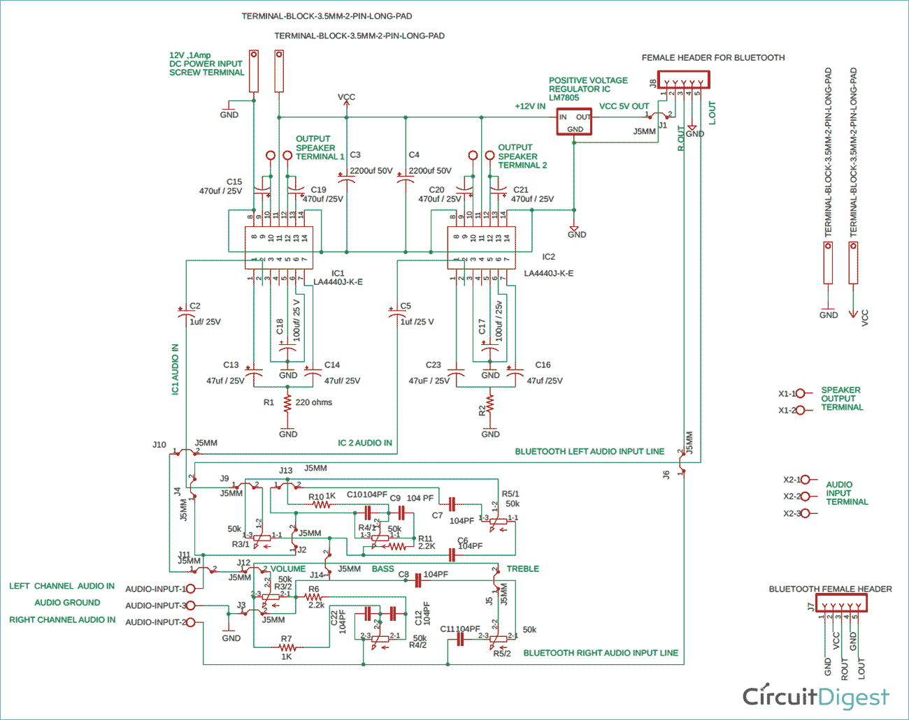 LA4440 Double IC Stereo Audio Amplifier Circuit Diagram