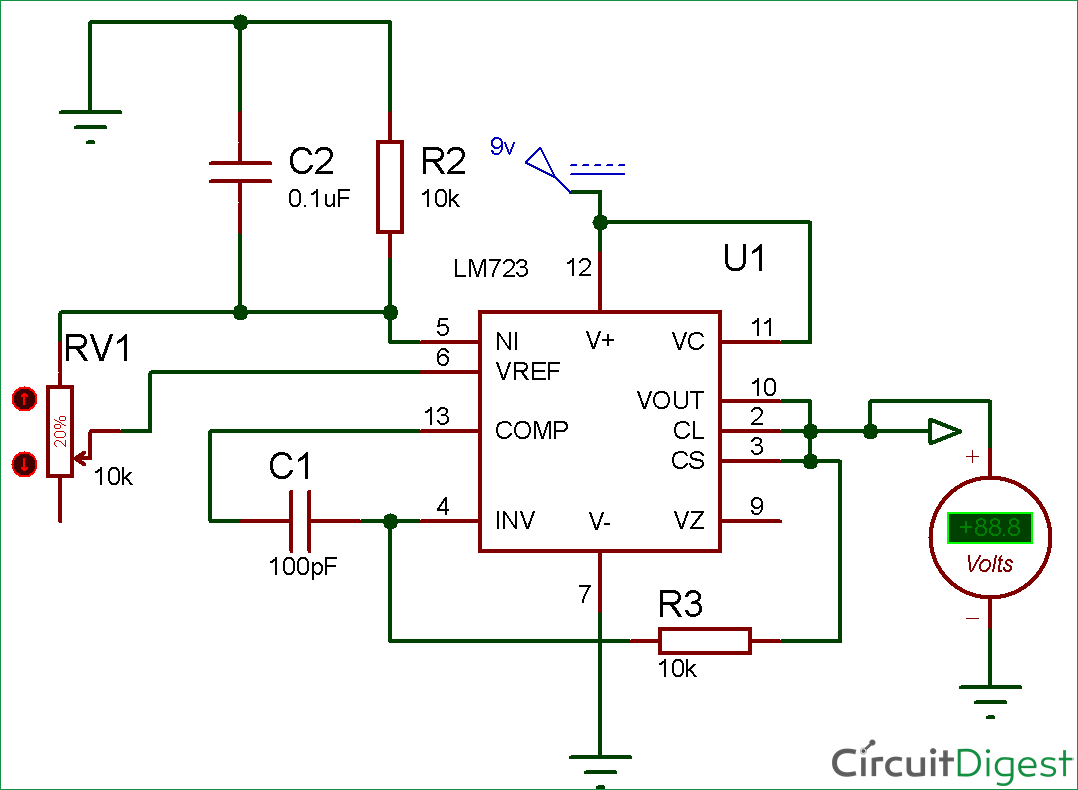 Regulated Power Supply Using 741 And 2n3055 Lm723 Voltage Regulator Circuit Diagram