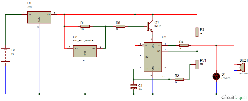 magnetic door alarm circuit diagram using hall sensor and 555 timer ic