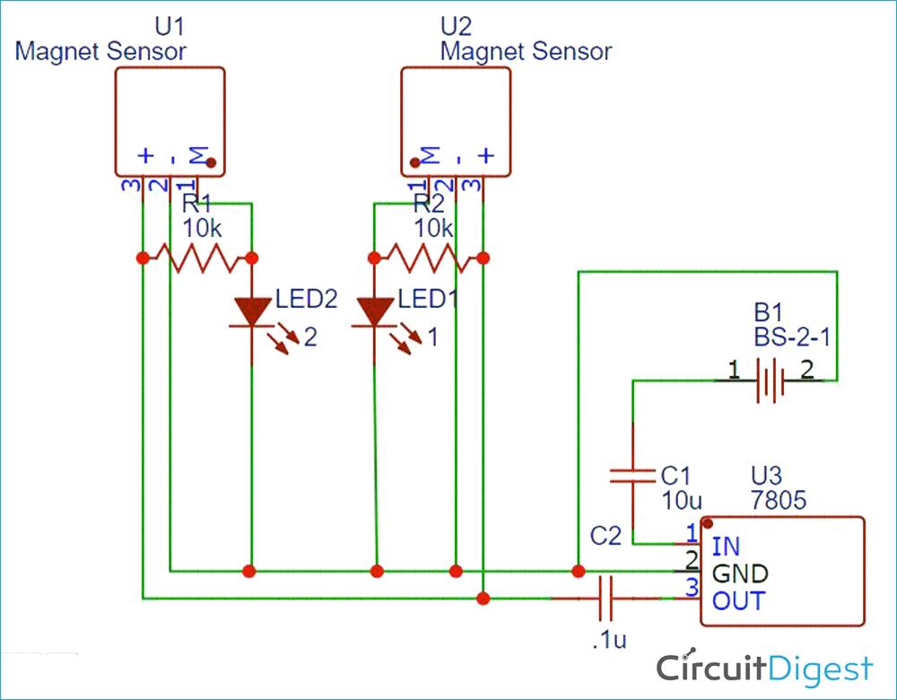 Magnetic Polarity Detector Circuit Diagram