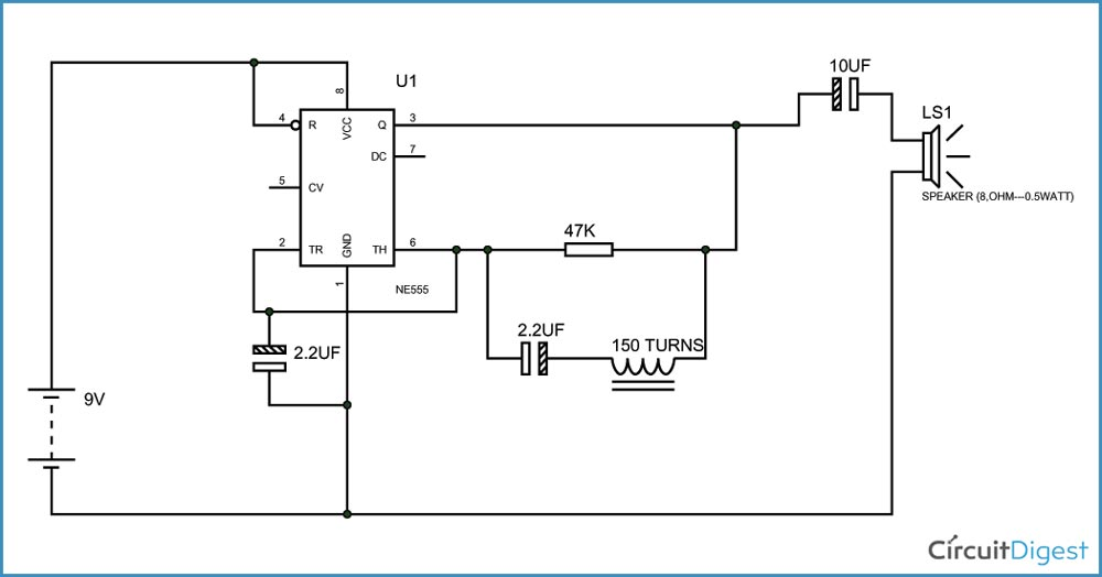 Simple Metal Detector Circuit Diagram using 555 Timer IC