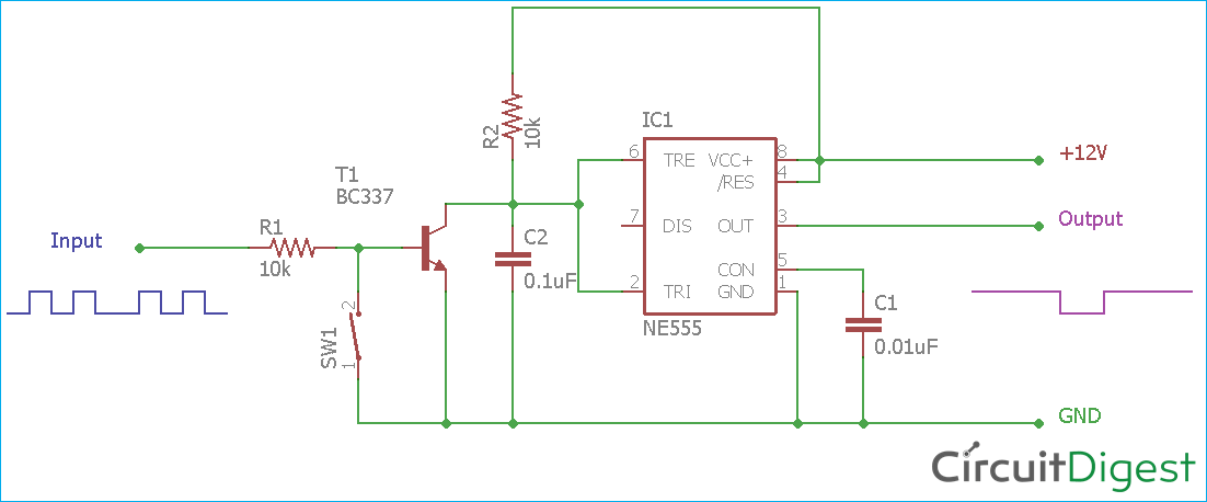 Missing Pulse Detector Circuit Diagram Using 555 Timer Ic