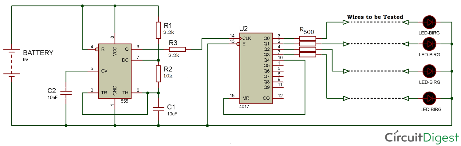 Multi-Wire Cable Tester circuit diagram