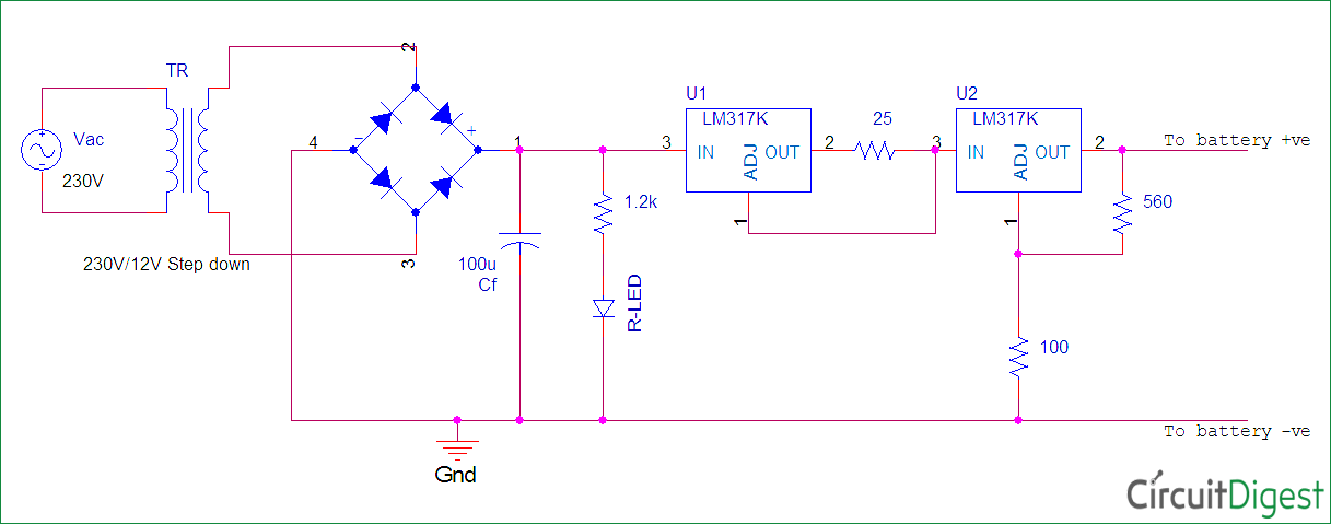 Ni-Cd Battery Charger Circuit diagram