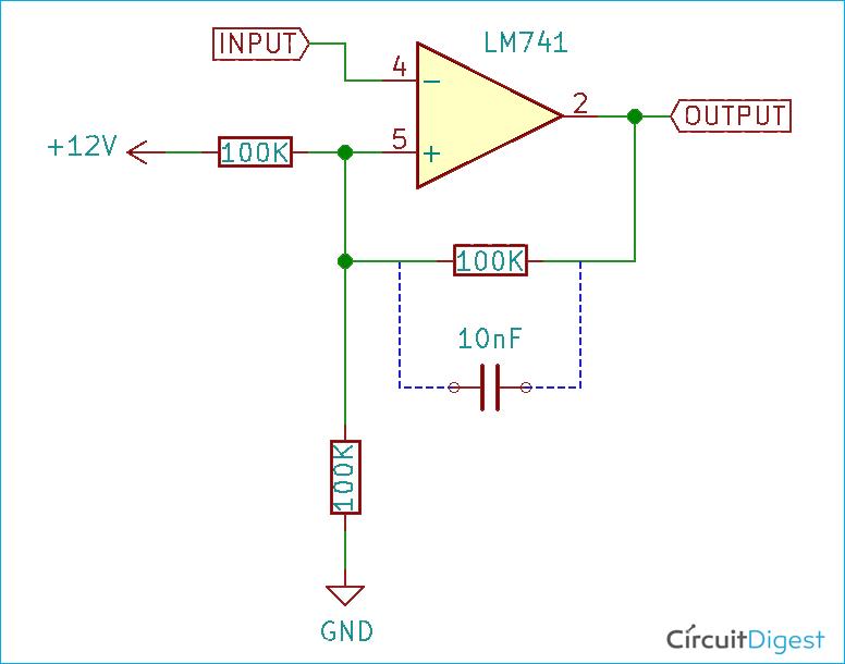 Om-Amp Schmitt Trigger Circuit Diagram