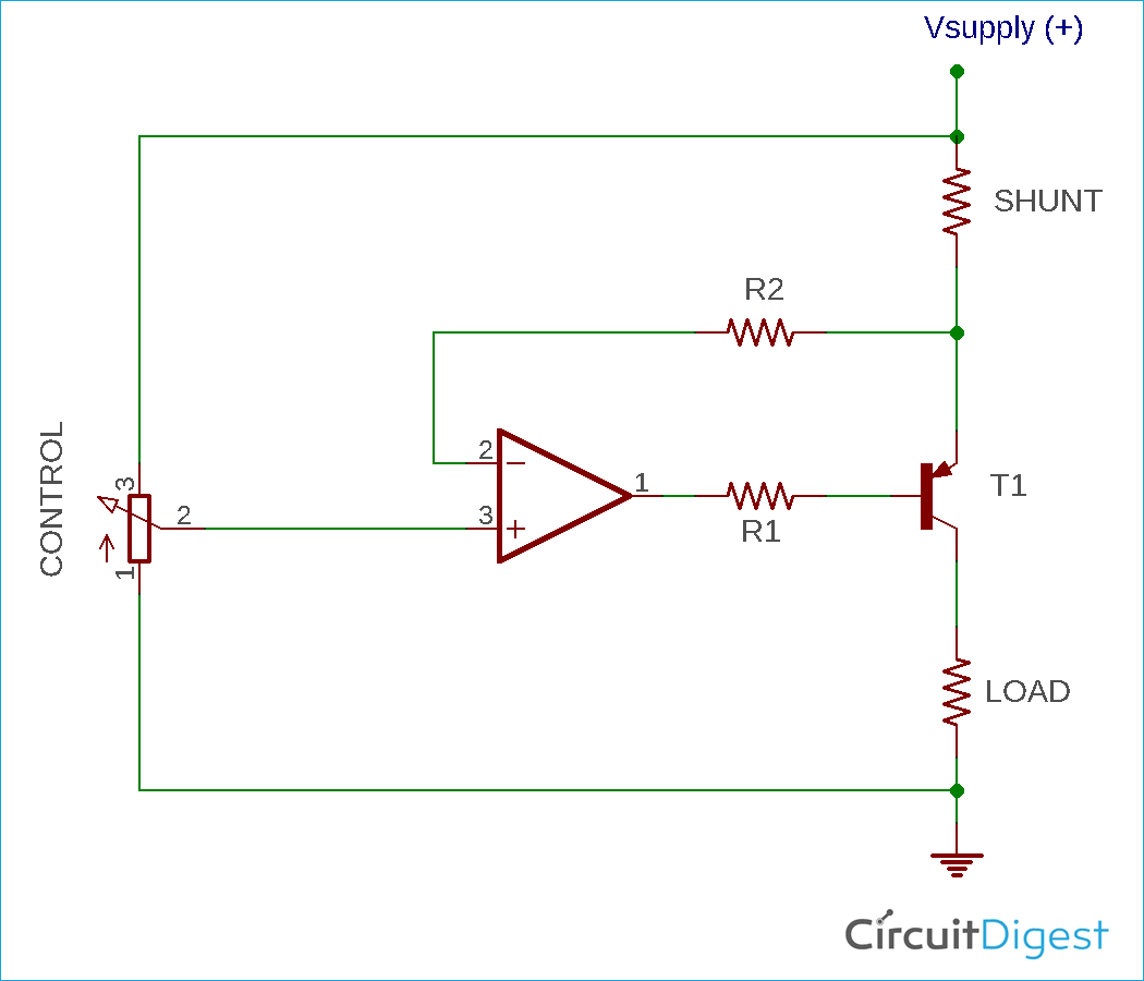 Voltage-Controlled Current Sink using Op-Amp Circuit Diagram