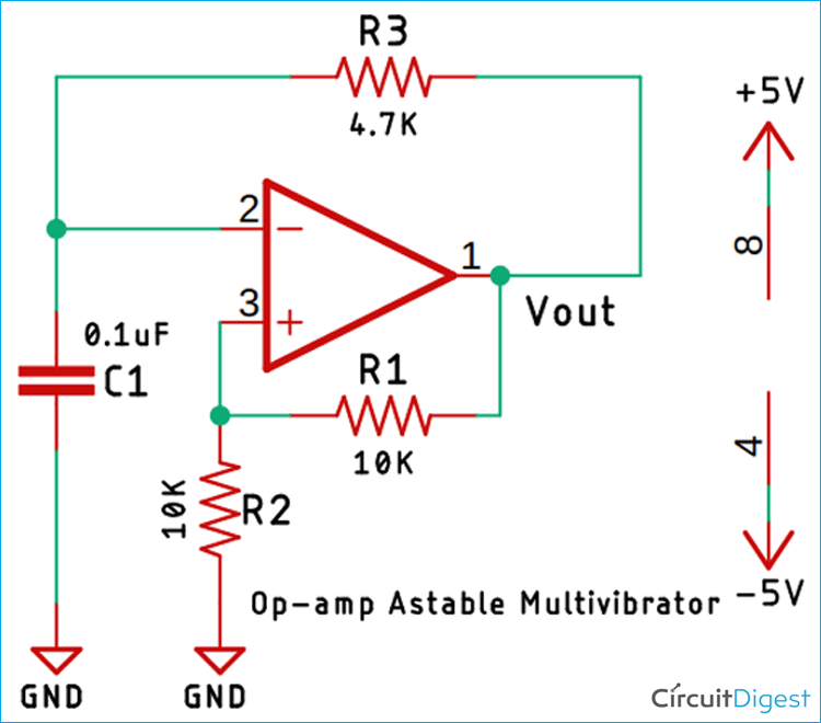 Op-amp Astable Multivibrator Circuit Diagram
