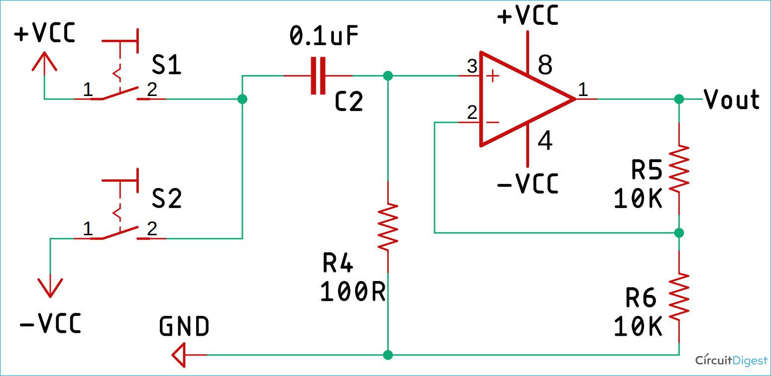 Op-amp based Bistable Multivibrator Circuit Diagram