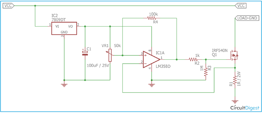 Overcurrent Protection Circuit Diagram using Op-amp