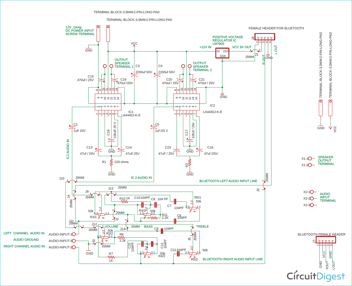Stereo Audio Pre-Amplifier Circuit Diagram