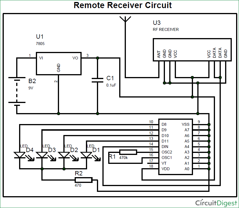RF remote receiver circuit diagram