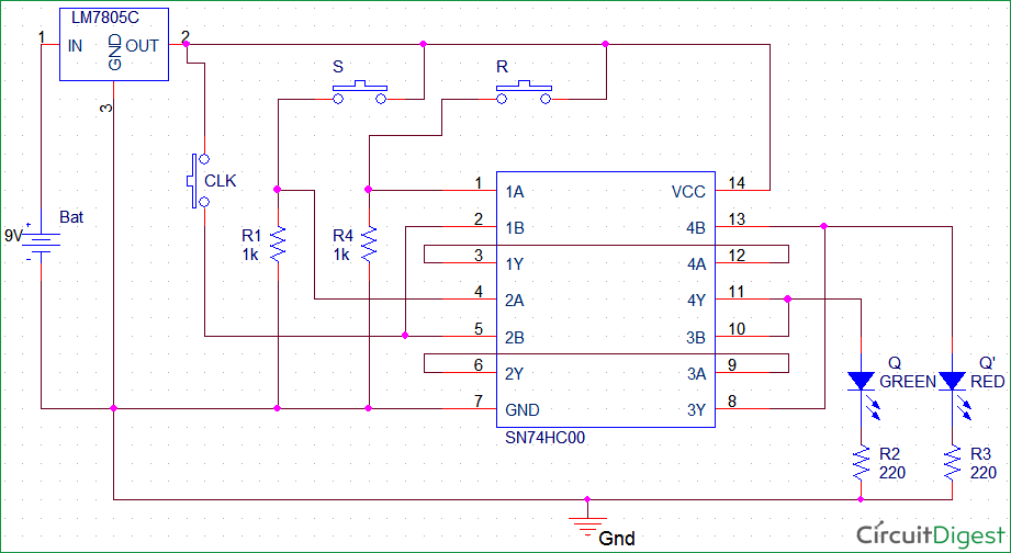 SR flip-flop circuit-diagram with IC SN74HC00N