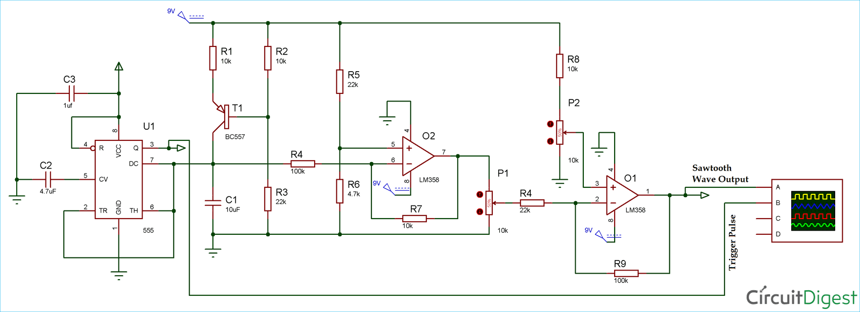 Sawtooth Waveform Generator Circuit Diagram