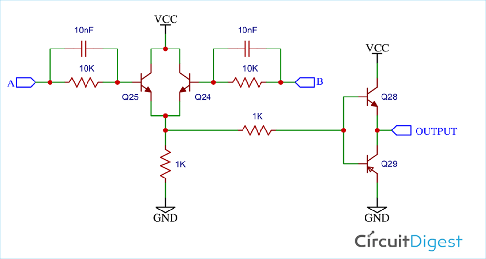 OR Gate Circuit Diagram using Transistor