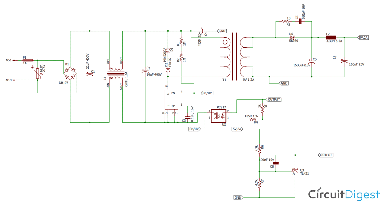 5V 2A SMPS Power Supply Circuit Diagram