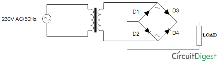 Simple Bridge Rectifier Circuit Diagram
