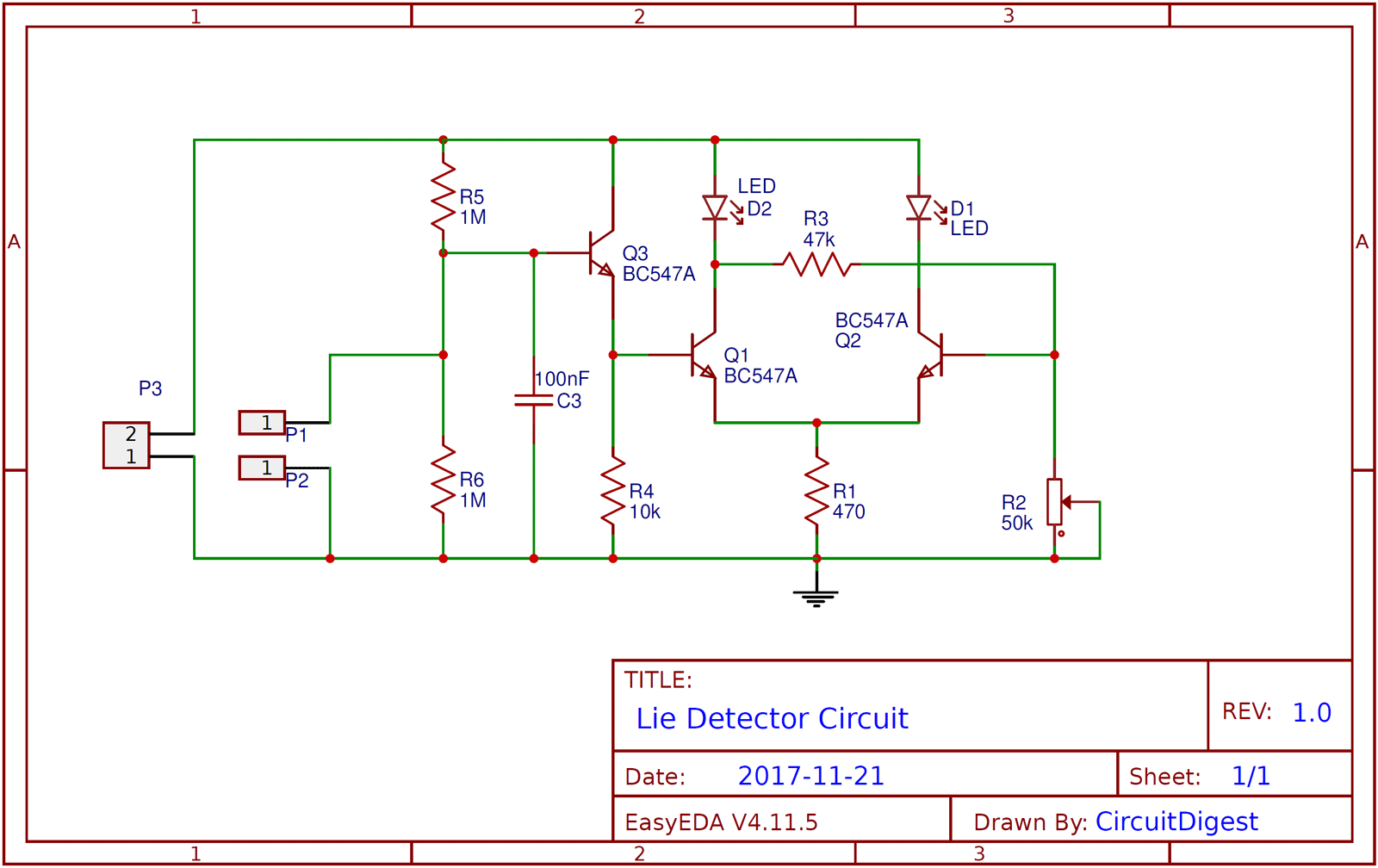 Simple Lie Detector Circuit diagram