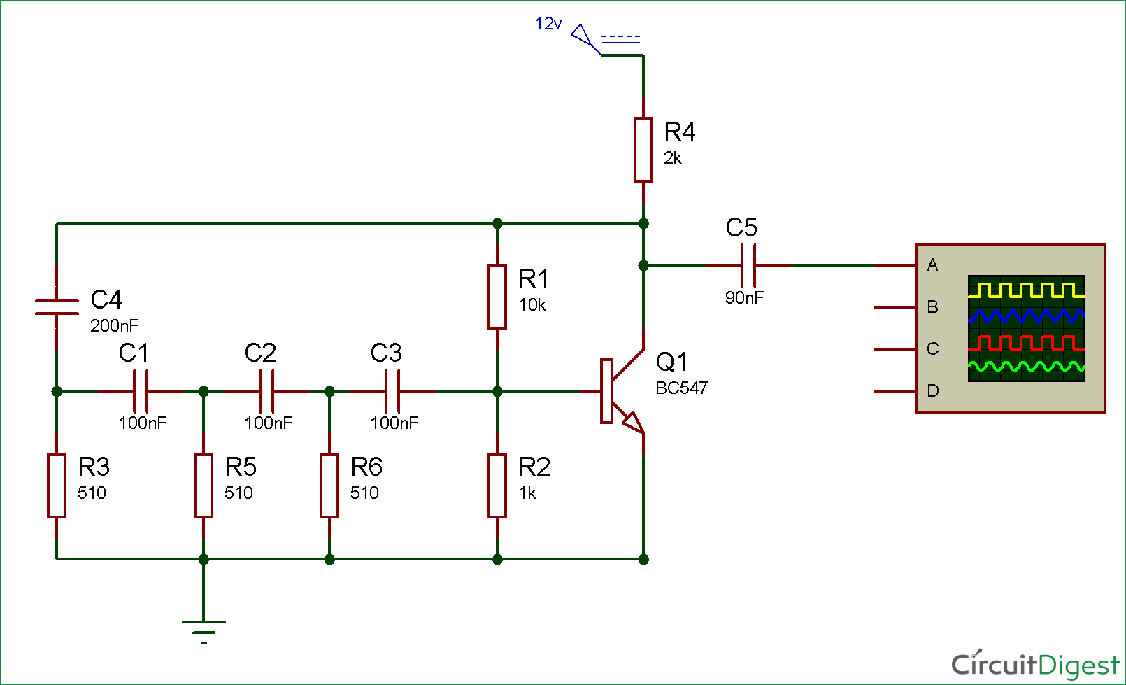 Simple Sine Wave Generator Circuit diagram using Transistor