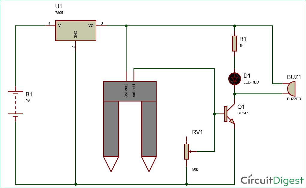 Simple Soil Moisture Sensor/Detector Circuit on