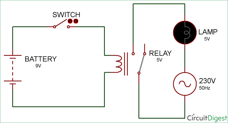 simple relay switch circuit diagram rh circuitdigest com  4 pin relay switch wiring diagram