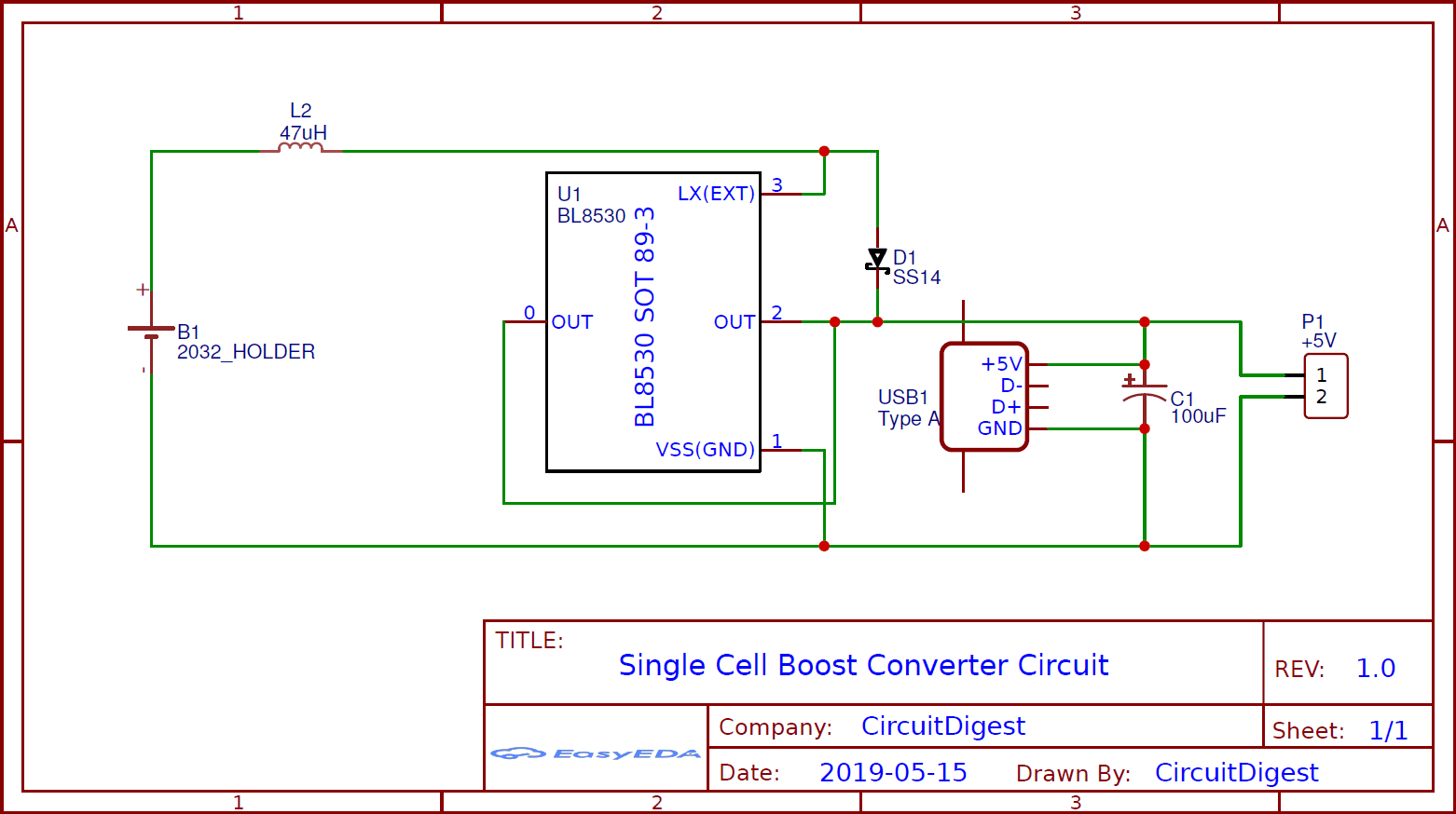 Single Cell Boost Converter Circuit Using Coin Cell  U2013 5v