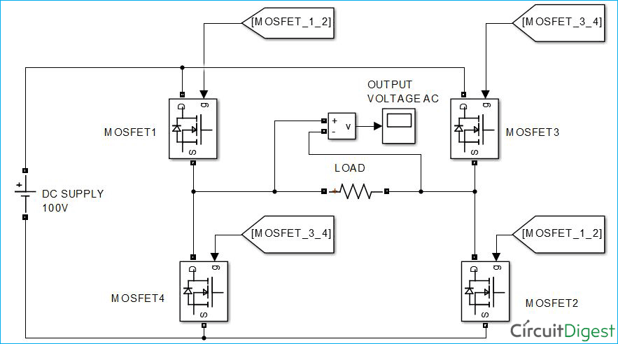 Single Phase Full Bridge Inverter Circuit Diagram