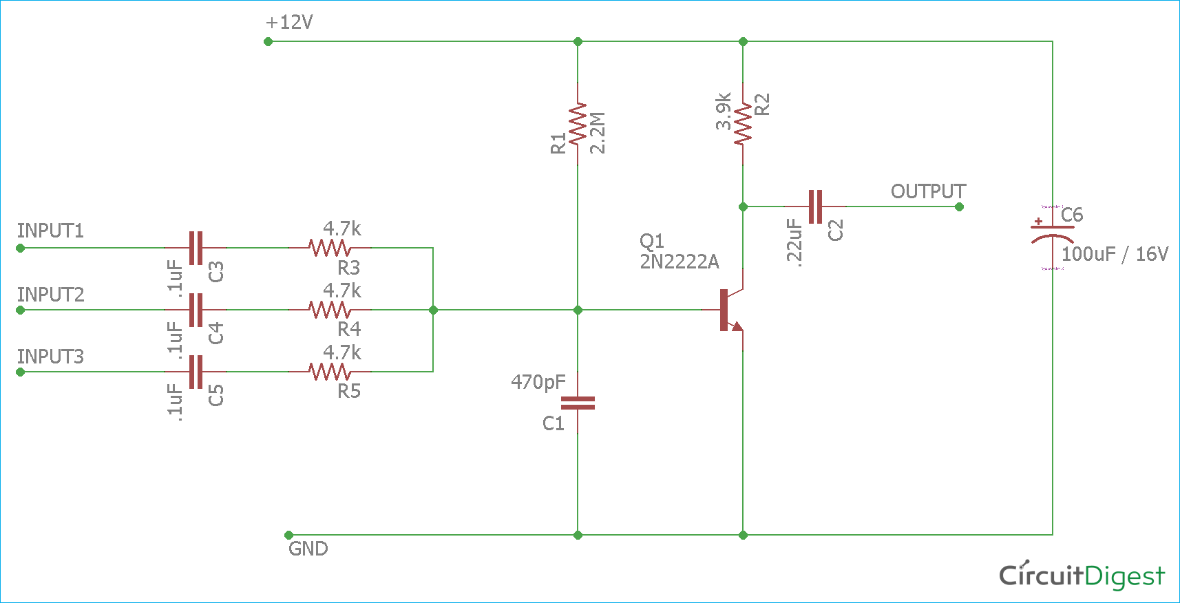 Astounding Single Transistor Audio Mixer Circuit Diagram Wiring Database Ioscogelartorg