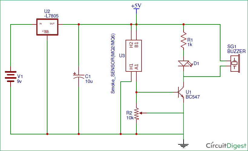Simple Smoke Detector Alarm Circuit Diagram