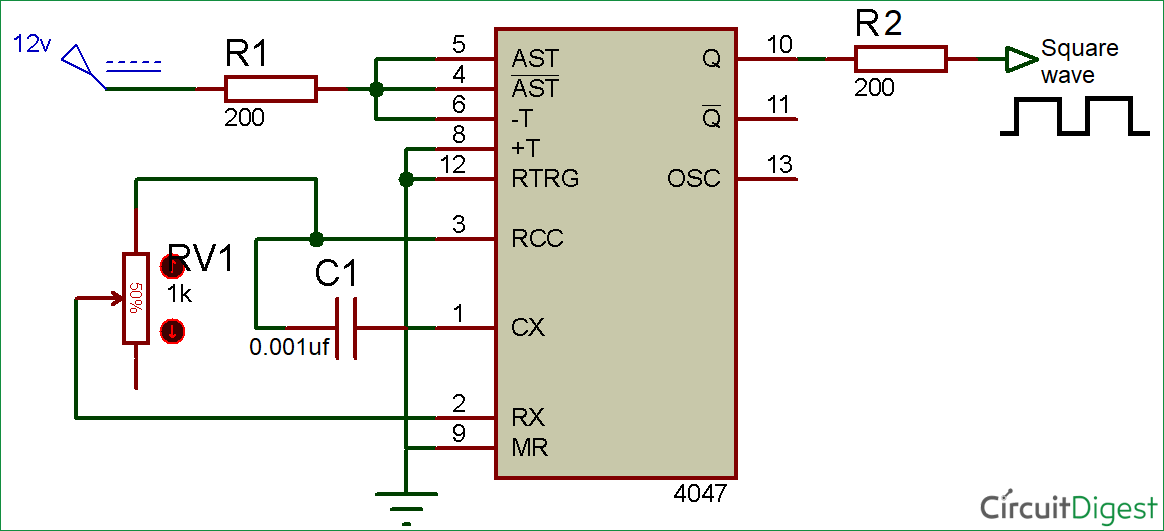 Square Wave Generator Circuit Diagram using 4047 IC