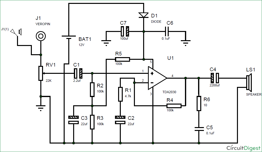 subwoofer amplifier circuit diagram using ic tda2030 rh circuitdigest com circuit diagram for speaker amplifier circuit diagram for power amplifier