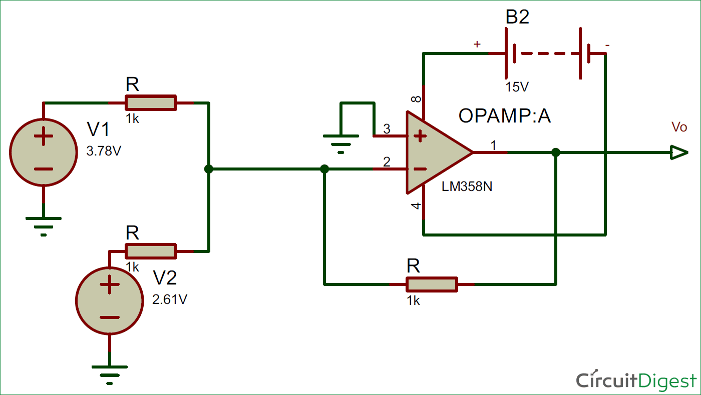 Summing Amplifier or Op Amp Adder Circuit diagram