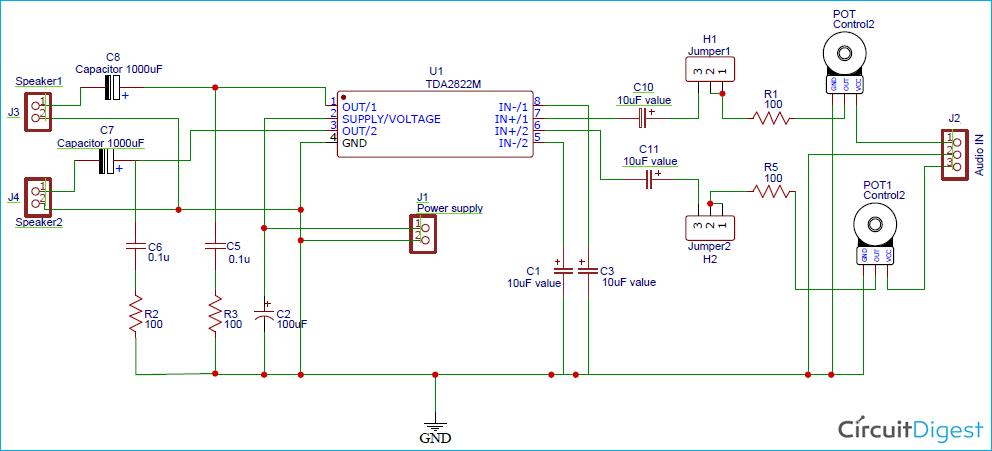 TDA2822 Stereo Audio Amplifier Circuit Diagram