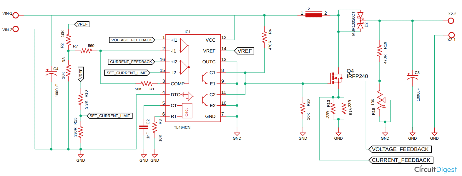 TL494 Based Boost Converter Schematic