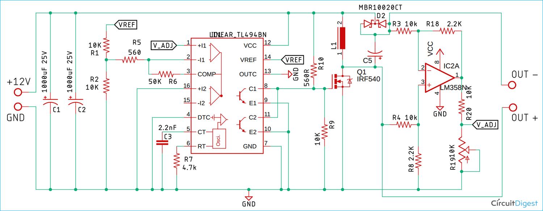 TL494 Buck-Boost Converter Circuit Diagram