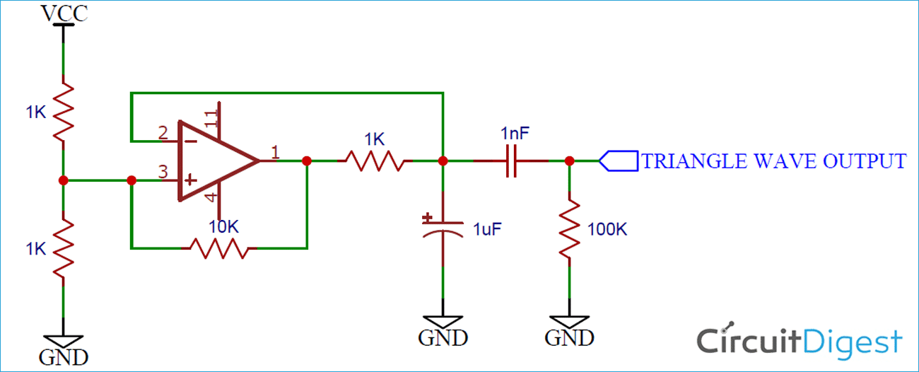 Op-Amp Triangle Wave Generator Circuit Diagram