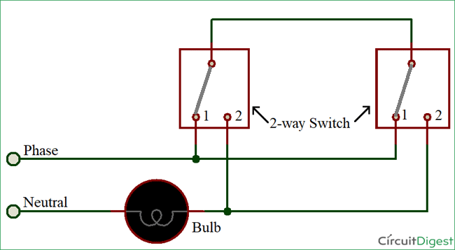 How to Connect a 2-Way Switch (with Circuit Diagram) Wiring Diagram For A Gang Light Switch on single pole light switch wiring diagram, bathroom fan light switch wiring diagram, switch light switch wiring diagram, one way light switch wiring diagram, 4 way light switch wiring diagram, electrical light switch wiring diagram, 2-way light switch wiring diagram, duplex light switch wiring diagram, two light switch wiring diagram, 3 way light switch wiring diagram,