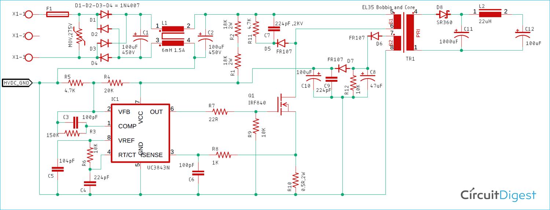UC3843 Based 27 Watt SMPS Circuit Diagram