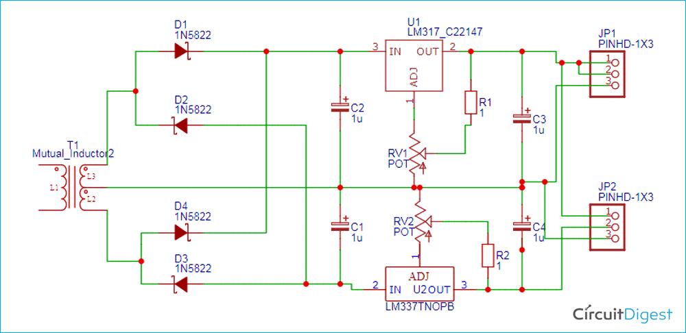 Variable Dual Power Supply Circuit Diagram