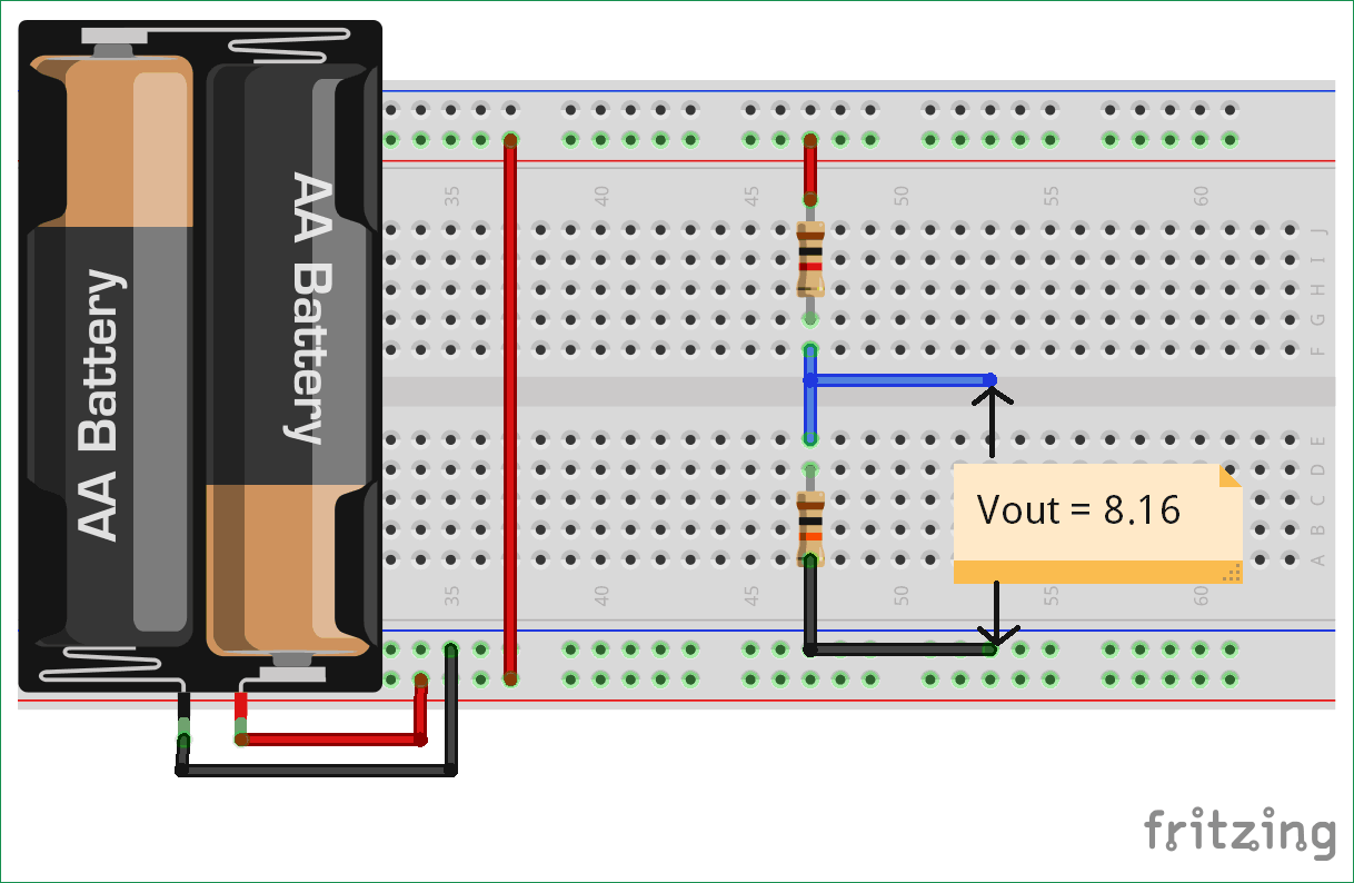 Potential Divider Circuit diagram on Fritzing