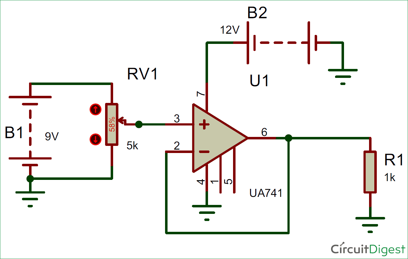 Voltage Follower Circuit using Opamp on