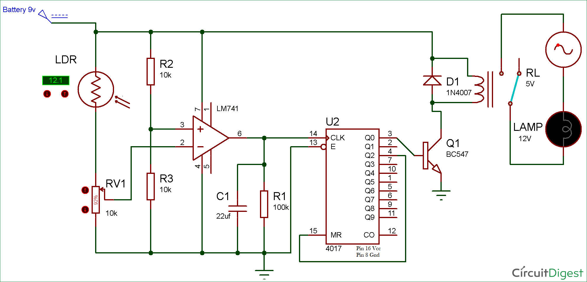Wireless Switch Circuit diagram using LDR and CD4017