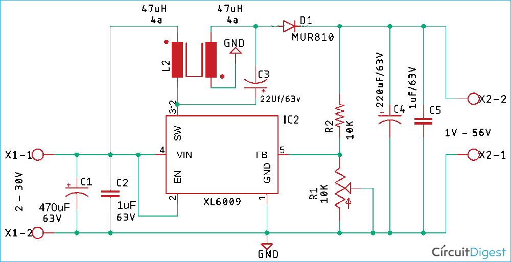 XL6009 Based SEPIC Converter Schematic