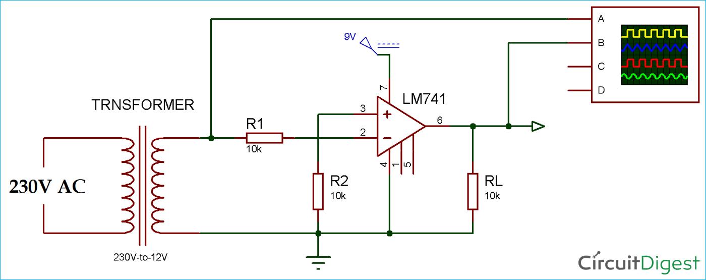 Zero Crossing Detector Circuit Diagram using Op-Amp