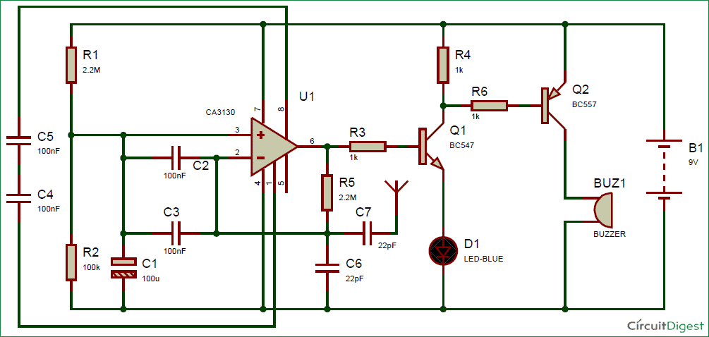 cell phone detector circuit diagram rh circuitdigest com cell phone circuit diagram phone ringer circuit diagram