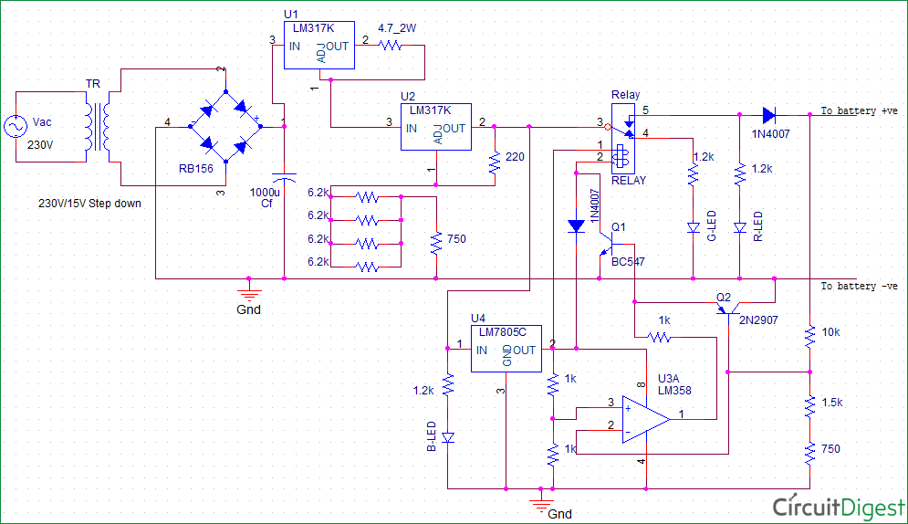 float charger circuit diagram for 12v sla battery