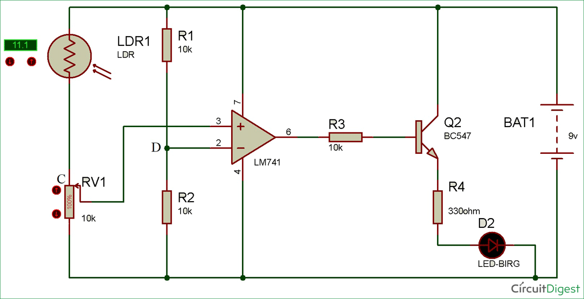 circuit diagram of light detector using wheat stone bridge 0 png rh circuitdigest com light detector circuit light detector circuit using 555 timer
