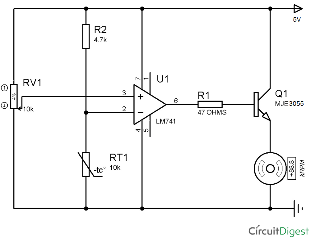 Temperature Controlled Dc Fan Using Thermistor Project With Circuit