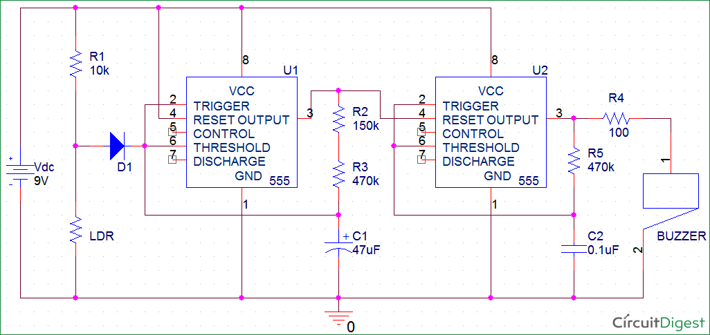 fridge door alarm circuit diagram using 555 and ldr rh circuitdigest com