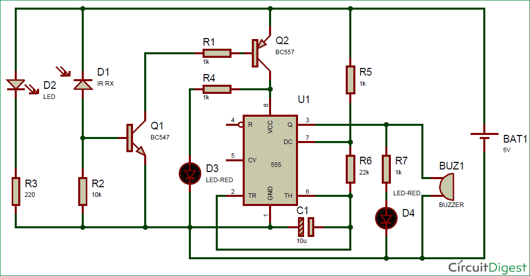 IR Detector using 555 Timer IC Circuit diagram